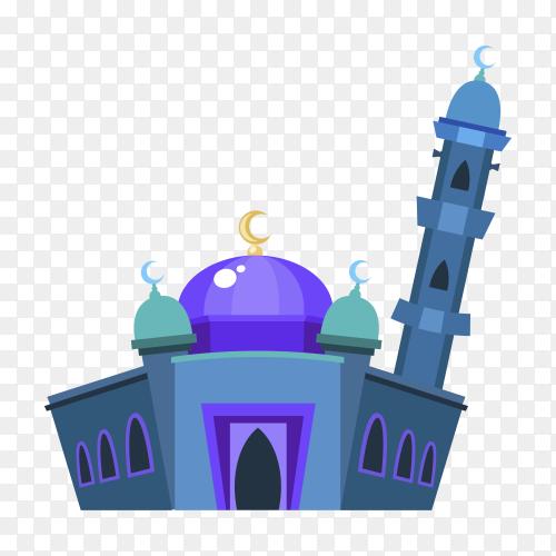 Islamic mosque building flat design illustration on transparent background PNG