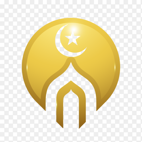 Islamic mosque logo design on transparent background PNG
