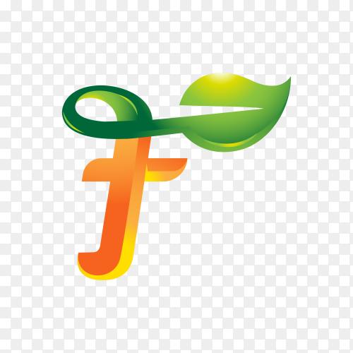 Leaf logo initial letter f logo concept on transparent background PNG