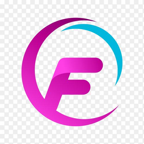 Letter F logo design on transparent background PNG