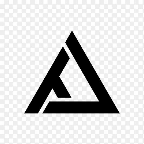 Letter A logo design in flat design on transparent background PNG
