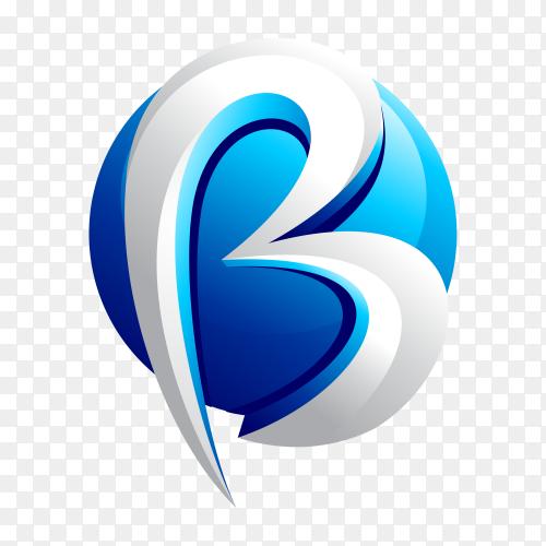 Letter B logo design template on transparent background PNG