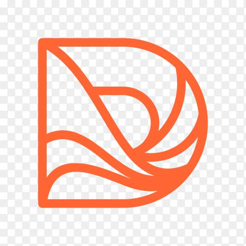 Letter D logo design template on transparent background PNG