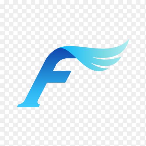 Letter F wing logo design on transparent background PNG