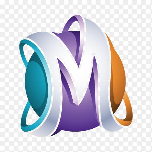 Letter M Logo design on transparent background PNG