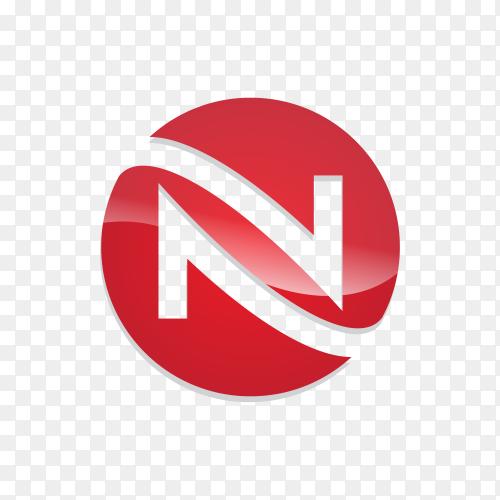 Letter N logo design template on transparent background PNG