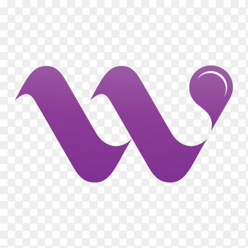 Letter W logo design template on transparent background PNG