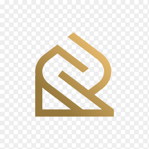 Letter r logo with golden concept for consulting, initial, finance company isolated on transparent background PNG
