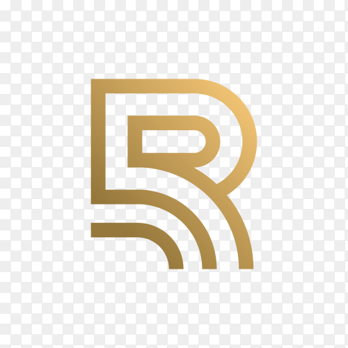Letter r logo with golden concept for consulting, initial, finance company on transparent background PNG