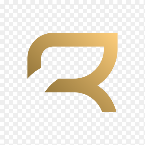 Letter r logo with golden concept for consulting on transparent background PNG