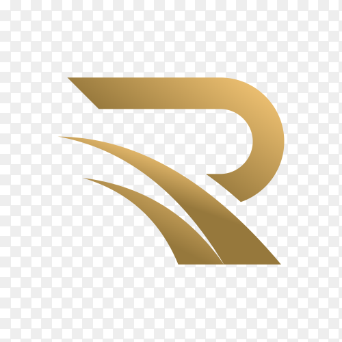 Letter r logo with golden concept for consulting premium vector PNG