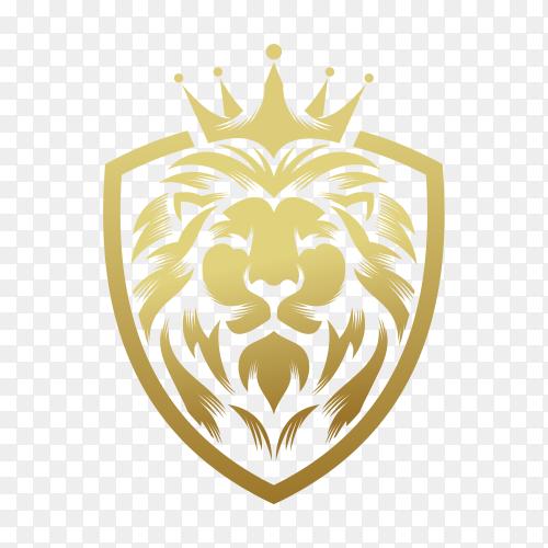 Lion king logo design template on transparent background PNG