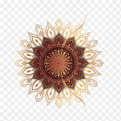 Luxury mandala background with golden arabesque pattern Arabic Islamic east style on transparent background PNG