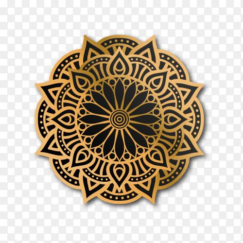 Luxury ornamental mandala design in gold color on transparent background PNG