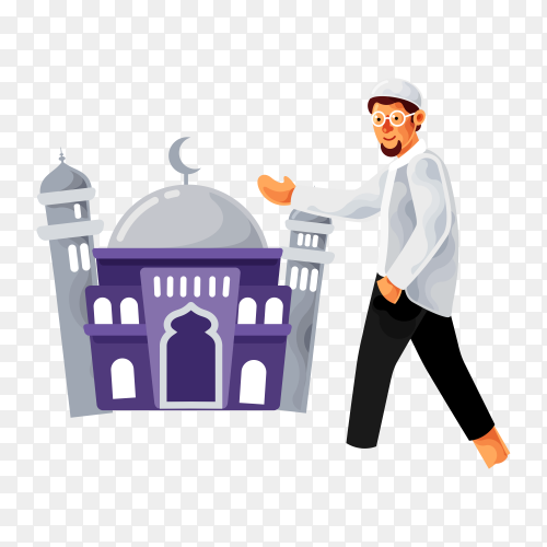 Man Muslim walk to the mosque to pray on transparent background PNG