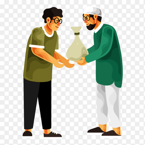 Man giving alms or zakat in the holy month of ramadan. muslim giving donation to a poor homeless man on transparent background PNG