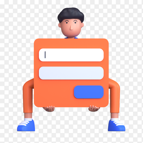 Man holding login form as a login here on transparent background PNG
