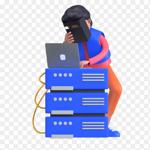 Man holding safety mask and operating laptop for hosting server on transparent background PNG