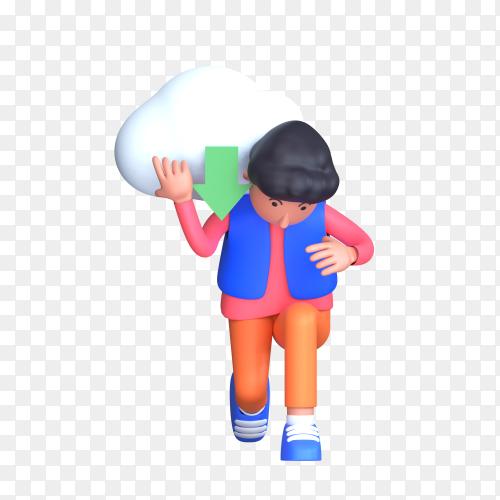 Man taking cloud download on his Shoulder on transparent background PNG