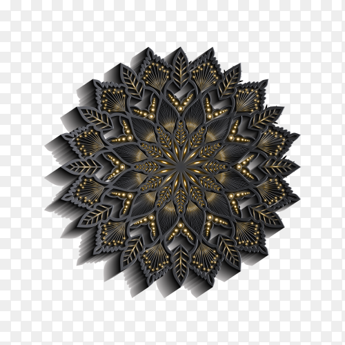 Mandala with 3d effect on transparent background PNG