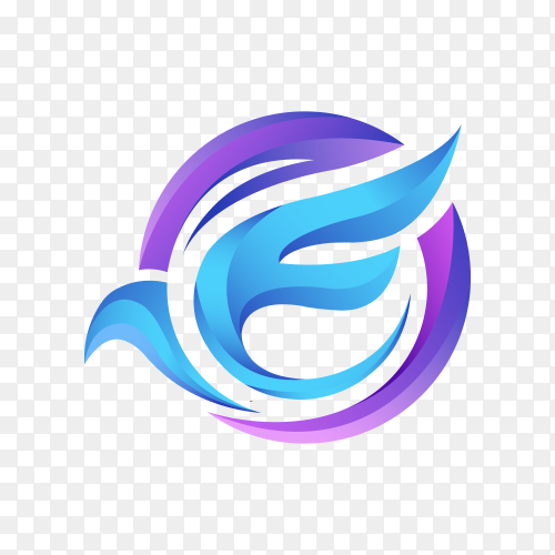 Modern letter e logo template with flying bird on transparent background PNG