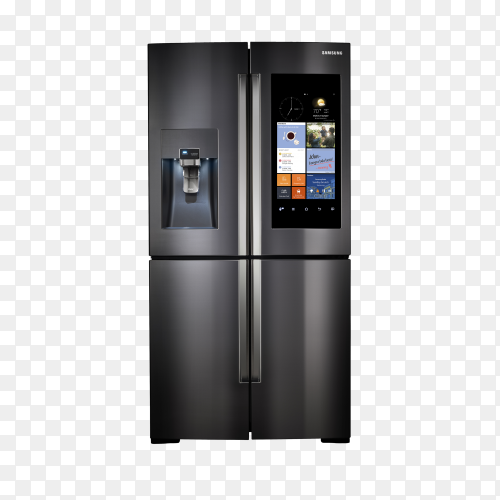 Modern side by side stainless steel smart refrigerator touch screen on transparent background PNG