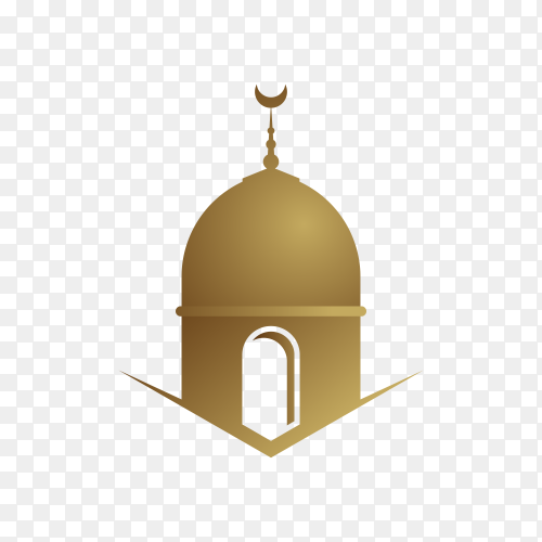 Mosque logo Islamic symbol gold on transparent background PNG