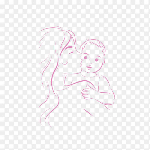 Mother's day background with happy family illustration on transparent background PNG