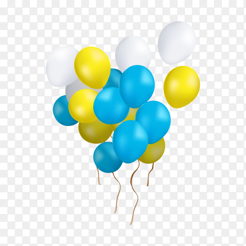 Multi colored balloons group isolated on transparent background PNG