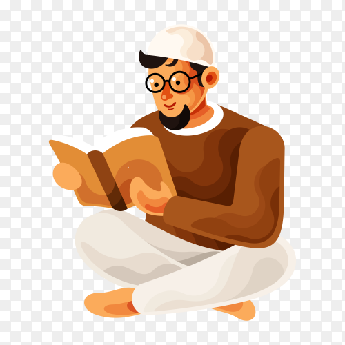 Muslim man reading and learning the Quran Islamic holy book on transparent background PNG