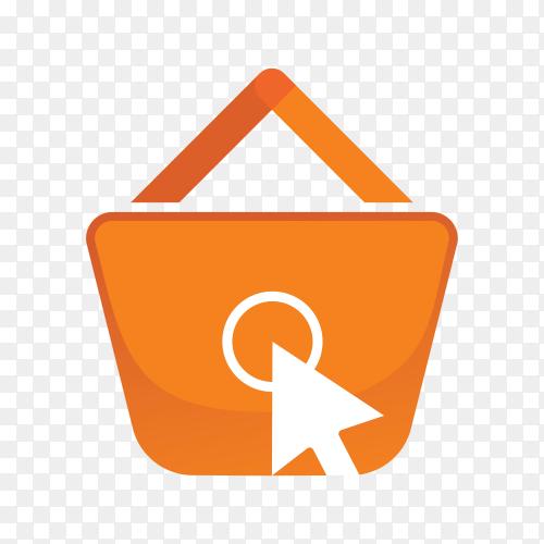 Online shop logo on transparent background PNG