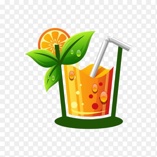 Orange juice logo illustration on transparent background PNG