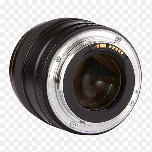 Professional photo lens isolated on transparent background PNG