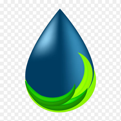 Pure water logo. blue drop symbol and eco green line on transparent background PNG