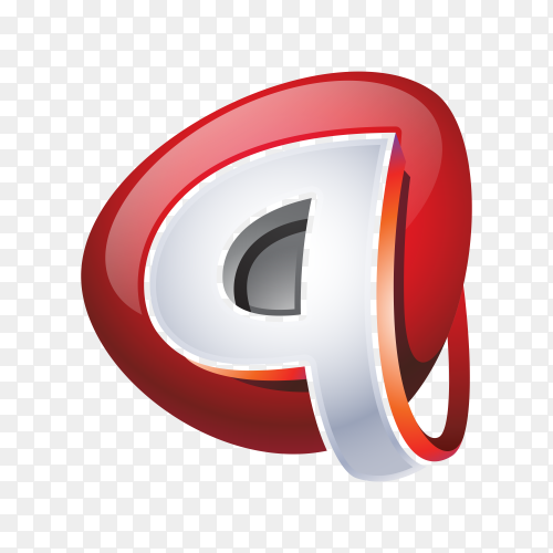 Q Logo – Abstract Letter Q 3D Logo on transparent background PNG