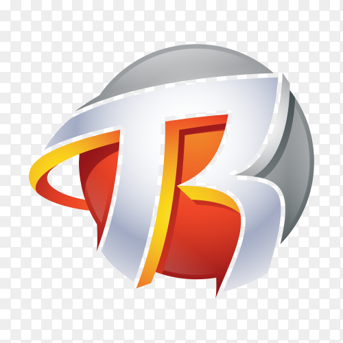 R Logo – Abstract Letter R 3D Logo on transparent background PNG