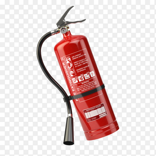 Realistic fire extinguisher isolated on transparent background PNG