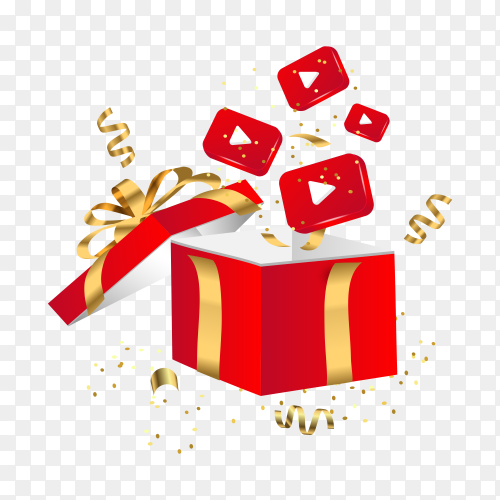 Red Gift box and YouTube icons template on transparent background PNG
