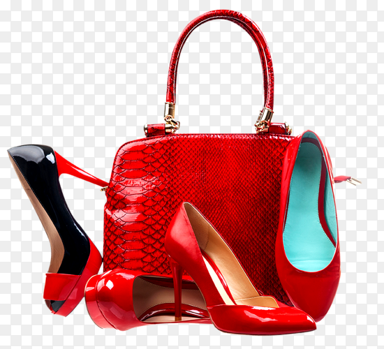 Red fashion women shoes and handbag on transparent background PNG