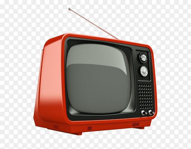 Retro old red TV on transparent background PNG