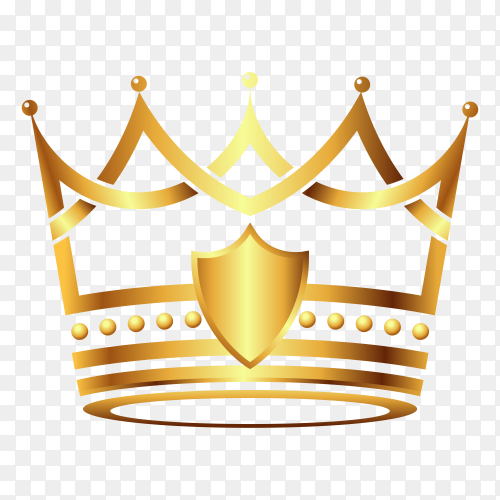 Royal crown king queen logo template on transparent background PNG