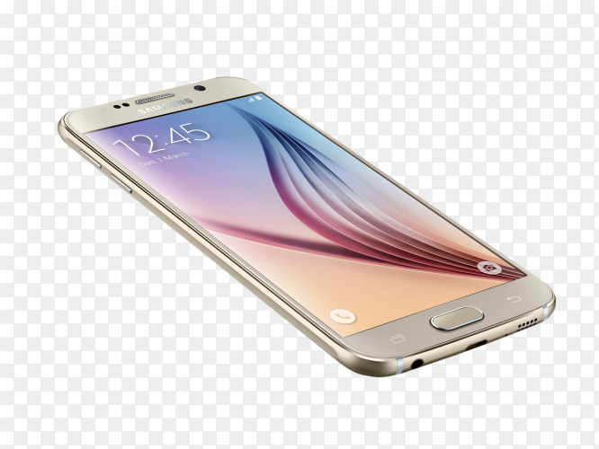 Samsung galaxy s6 mock up on transparent background PNG