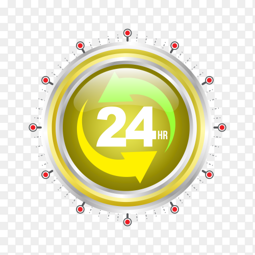 Service assistance label with clock isolated on transparent background PNG