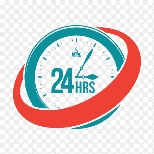 Service assistance label with clock template on transparent background PNG
