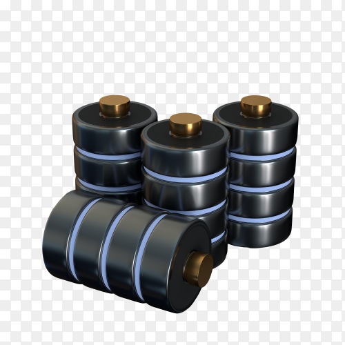 Set icons disk a database of battery concept isolated on transparent background PNG
