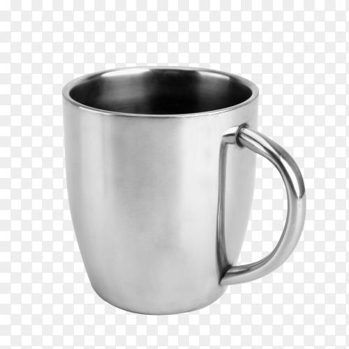 Silver mug on transparent background PNG