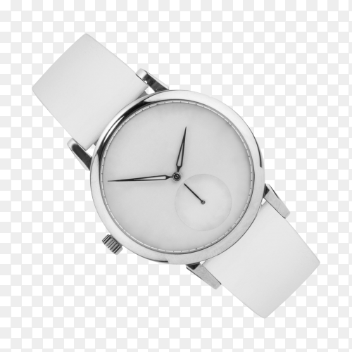 Silver wrist watch isolated on transparent background PNG