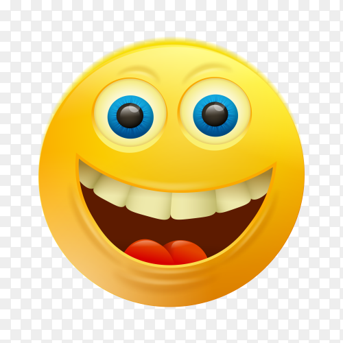 Smile yellow emoji face on transparent background PNG