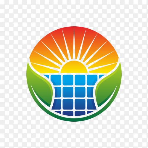 Solar energy logo design on transparent background PNG