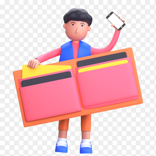 Wallet man holding smartphone with online payment concept on transparent background PNG